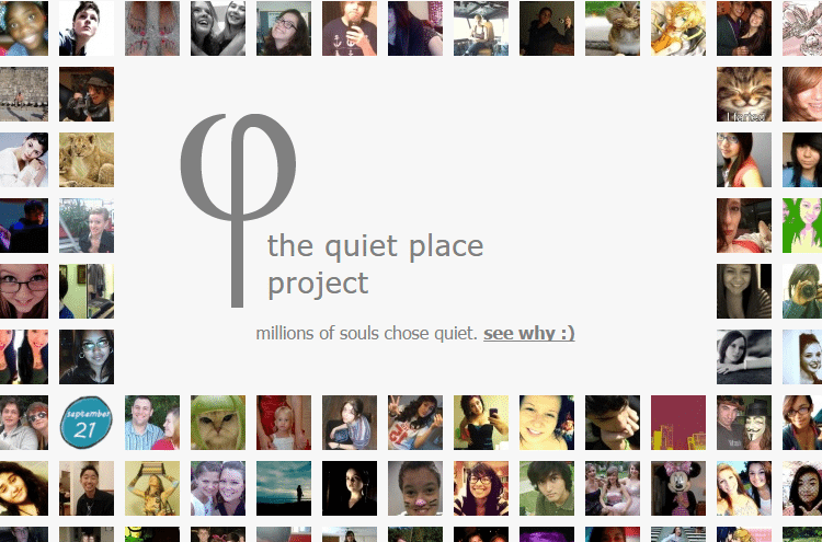quiet place project Find and follow posts tagged quiet place project on tumblr log in sign up just-another-dreamqueen-bithead #thought #quiet place #quiet place project #vent #pain #sadness #sad 55 notes myserendipitydreams #quiet place project.