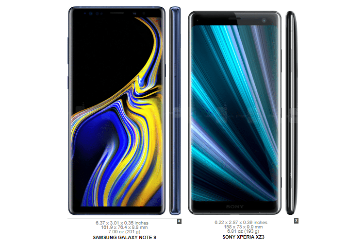 Galaxy Note 9 vs. Sony Xperia XZ3 2α