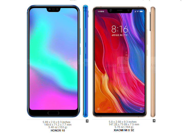 Huawei Honor 10 vs. Xiaomi Mi 8 SE 4
